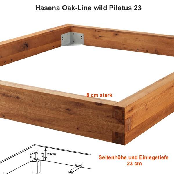 Hasena Oak Line Wild Serie Pilatus 23 Bettrahmen Wildeiche Massiv