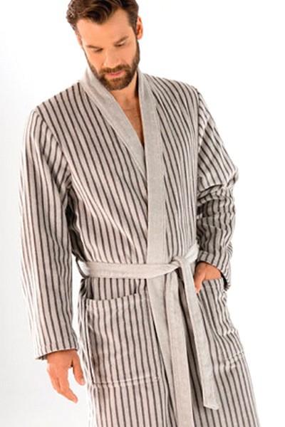 Cawö Herren Bademantel 4883-77 Kimono silber 125cm