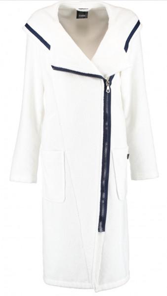 Cawö Damen Bademantel 6116 Reißverschluss weiß-navy 110cm