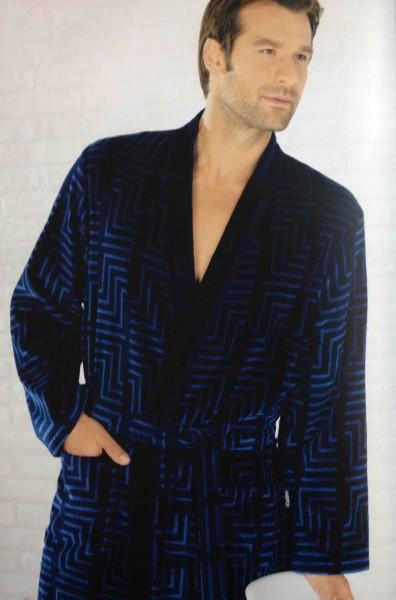 Cawö Herren Bademantel 3809 Kimono blau 125 cm